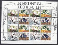 """Liechtenstein - 1994 mi. 1089-1092 """"Weinrebe"""" im ZD Kleinbogen gestempelt"""