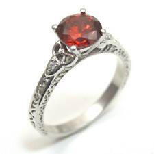 Ring Trinity Knot 1.5ct Garnet and Diamond 4 Claw Sterling Silver 287