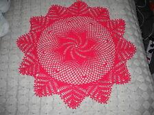 Beautiful NEW Hand Crocheted Doily Red Whirlwind HI-219