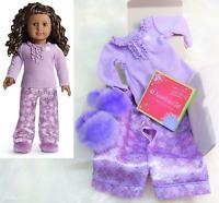 NEW American Girl Doll Clothes Purple SNOWFLAKE PAJAMAS & SLIPPERS + Charm + BOX