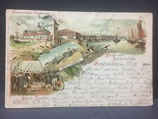 1900 postcard GRUSS vom GEESTEMUNDE, in Germany...fish market, port & restaurant