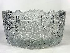 Vintage Cut Crystal Bowl Daisies and Stars Glass Bowl