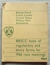 BRSCC libro de reglamentos & formularios de entrada 1966 reuniones de carreras