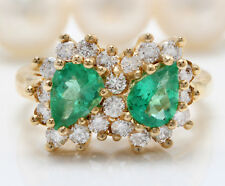 1.80CTW Natural Colombian Emerald and Diamonds in 14K Solid Yellow Gold Ring