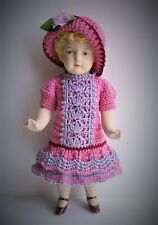 "Handmade Crocheted Dress Set For 7""-7 1/2"" Antique German French all Bisque Doll"