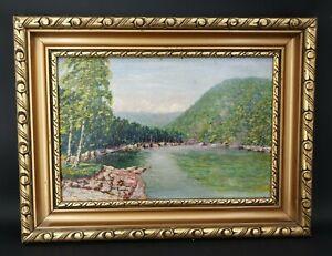 Ancien tableau, paysage, cadre doré époque début XX ème s