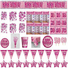 Glitz Pink Birthday Party Tableware Ages 13-60 Supplies Plates Balloons Candle