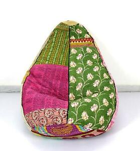 Handmade Quilted Kantha Cotton Floral Bohemian Bean Bag Chair Pouf Floor Pillow
