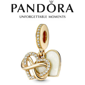 2021 New Gold Infinite Love Heart PANDORA S925 ALE Dangle Charm Authentic