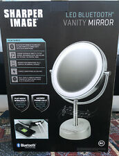 Sharper Image LED blootooth Vanity Mirror Smartphone Blue Tooth Speaker Charger