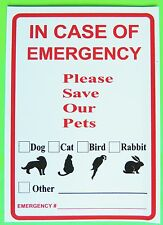 """Animal Alert Window Decal/Sticker """"IN CASE OF EMERGENCY PLEASE SAVE OUR PETS"""""""
