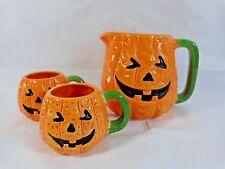 Jack O Lantern Pitcher and 2 Mugs Orange Ceramic Pumpkin Midwest Halloween Decor