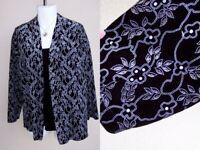 Notations black velvet twofer jacket top plus size 3x 1x silver glitter att tank