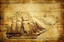 "Old Maps & Sailing-Ship. Picture on Box-Canvas 20""x 30"""