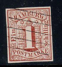 Hamburg, #2, VF Used with BERGEDORF bar cxl, Jakubeck Attest, **RARE**, Germany