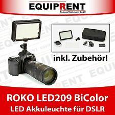 ROKO LED209 BiColor DSLR LED Leuchte mit Akku + Ladegerät + Tasche (EQ392)