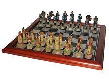 Schach Set Nordstaaten US gegen Indianer Schachspiel chess mit Schachbrett NEU