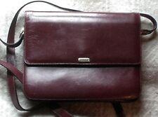 Vtg BALLY Made in Italy dk Oxblood Leather Shoulder Crossbody Bag
