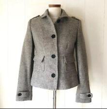 Women's Banana Republic Wool Blend Coat Size Small Military Style, Epaulets Gray
