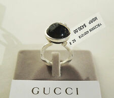 Gucci NEW G Logo 14mm Black Onyx Round Boule Silver Ring size 8 Tags/Box $430
