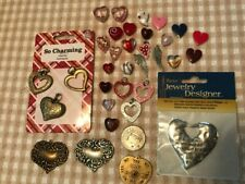 Valentines Day Lot New Metal and Glass Bead Hearts for Jewelry Making Free Shipp