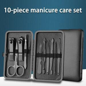 10 pcs Manicure Cutters Nail Clipper Set Ear Spoon Nail Clippers Scissors Tool