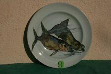 """céramique assiette plate de porcelaine anglaise Mintons """"aquarium"""" poisson N°9"""