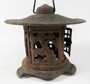 "Vintage 9"" Cast Iron Japanese Bonsai Finch Hanging Pagoda Garden Candle Lantern"