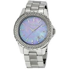 NWT MICHAEL KORS MK5451 MADISON Silver Tone Crystal Bezel Blue Dial Women Watch