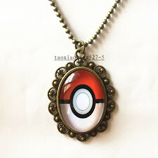 1pcs Anime Pokemon Pokeball Cabochon  plated Glass Bronze Chain Pendant Necklace