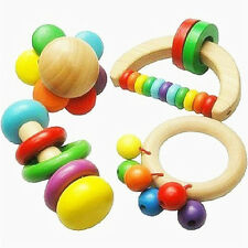 Baby Wooden Rattle Bell Toy Handbell Musical Education Percussion Instrument AU