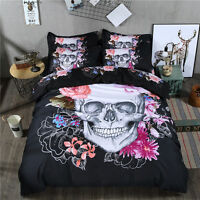 Skull Floral Duvet Doona Quilt Cover Set Queen King Single Size Bed Covers New