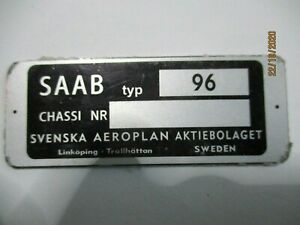 Nameplate Plate Saab 96 Sign Id Plate Tag- Day s65