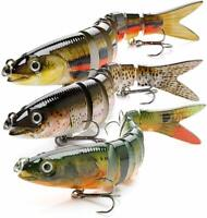 3x Swimbait Fishing Lures Jointed Sinking Swim Stick Bait Jewfish Cod Tackle