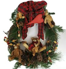 "Christmas Door Wreath Folk Wood Carved Bears Cabin large 20"""