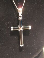 "Black Onyx Cross with Sterling Silver Accents - 18"" SS Chain"