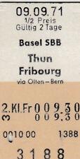 VECCHIO BIGLIETTO Basilea SBB - THUN FRIBOURG von 1971 (g4359)