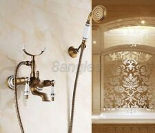 Antique Brass Wall Mounted Bathroom Hand Shower Faucet Set Tub Mixer Tap 8tf308