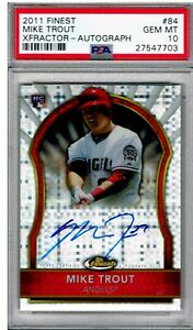 MIKE TROUT 2011 FINEST #84 PSA 10 AUTO XFRACTORS #077/299 BEAUTIFUL CARD