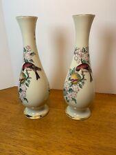 "New listing Pair of Lenox Vases Hand Decorated 24 Karat Gold Serenade Bird & Flowers 8 3/4"""