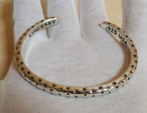 $ 835 King Baby Men's Sterling Silver 925 Star Cuff Bracelet Biker Chrome Hearts