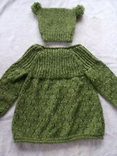green hand knitted made in Ireland baby hat and jumper set 2 - 3 years girl boy