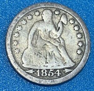 """1854 United States 10 Cents """"Seated Liberty Dime"""" 0.900 Silver Coin"""