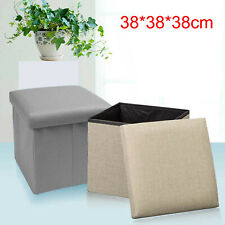 Single Folding Storage Pouffe Cube Foot Stool Seat Ottoman Footstool Toy Box