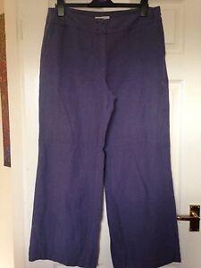 Laura Ashley Blue Linen Trousers size 16
