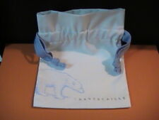 "Chantecaille - White/ Blue Cotton Pouch - 7,5"" x 6"" - New"