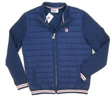 NWD $100 ORIGINAL FILA NAVY BLUE QUILTED/KNIT FULL ZIP TREV JACKET SIZE M