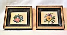 Vintage Needle Point Flower Pictures in Shadow Boxes - Set of 2