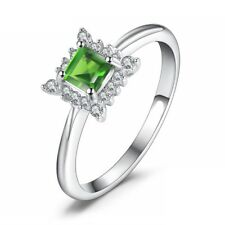 0.4Ct Princess Cut Green Peridot Engagement Ring Solitaire 14k White Gold Over