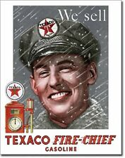 Texaco Pump Attendant Fire Chief Oil Lubricates Distressed Retro Metal Tin Sign